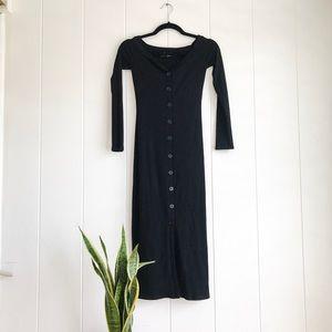 REFORMATION Off-the-shoulder Ribbed Midi Dress